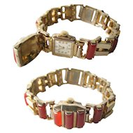 Etna Watch Company Carnelian Bracelet Watch With Hidden Watch - Collectible Watch - 17 Jewel Watch - Mechanical Watch - Wind Up Watch