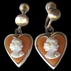 Resin Cameo Heart Earrings - Screw Back Earrings - Cameo Earrings