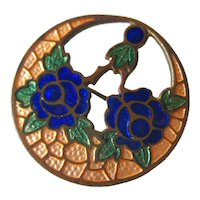 Art Deco Floral Cloisonne Pin - Vintage Jewelry - Estate Jewelry - Vintage Brooch - Enamel brooch