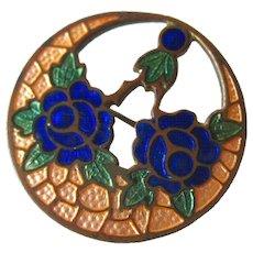 Art Deco Floral Cloisonne Pin - Vintage Jewelry - Estate Jewelry - Vintage Brooch - Enamel brooch