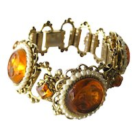 Molded Glass Bracelet With Orange Glass Cabachons - Vintage Bracelet - Flower Bracelet - Floral Bracelet
