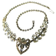 White Rhinestone Heart Necklace - Wedding Necklace - Prom Necklace - Wedding Jewelry - Bride Necklace