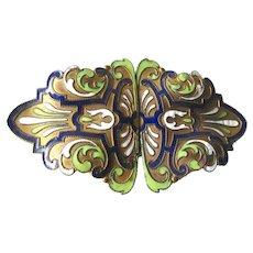 Champlevé Enamel Belt Buckle - Art Nouveau Enameled Buckle