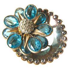 Reis Company 12K Gold Filled Turquoise and White Rhinestone Brooch Pendant - 1950s Designer Jewelry - Signed Costume Jewelry