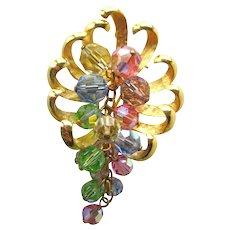 Park Lane Crystal Pin - Crystal Dangle Brooch - Vintage Jewelry - Costume Jewelry Brooch - Park Lane Brooch