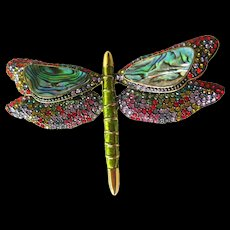 Joan Rivers Dragonfly Pin With Abalone Enamel and Rhinestones - Joan Rivers Brooch - Costume Jewellery