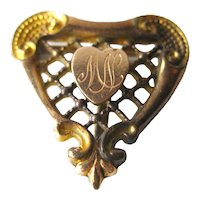 PS CO Heart Watch Pin - Victorian Watch Pin - Plainville Stock Company - Gold Tone Heart Pin