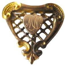 PS CO Heart Watch Pin - Victorian Watch Pin - Plainville Stock Company - Gold Tone Heart Pin