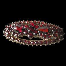 Garnet  Pin European Silver With Gold Wash - Vintage Brooch - Antique Garnet Pin - European Silver Pin - Estate Jewellery Brooch