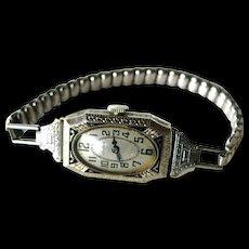 Gruen Art Deco Ladies Watch Cartouche 78 1920s - Ladies Wrist Watch - Art Deco Wrist Watch - Gruen Watch - Art Deco Black Enamel Watch