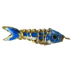 Articulated Fish Charm - Enamel Fish Charm - Koi Charm - Good Luck Charm
