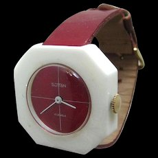 Sutton Red and White Lucite Watch In Working Condition - Mid Century Mechanical Watch - MOD Watch - Wind Up Watch