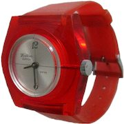 Cherry Red Lucite Watch In Working Condition - Mid Century Mechanical Watch - Skeleton Watch - Wind Up Watch