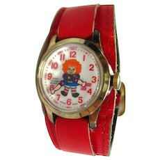 Raggedy Ann Novelty Watch In Working Condition - Mechanical Watch - Bradley Watch - Wind Up Watch - Swiss Watch - Collectible Watch