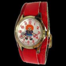 Raggedy Ann Novelty Watch In Working Condition - Mechanical Watch - Bradley Watch - Wind Up Watch - Swiss Watch - Collectible Watch