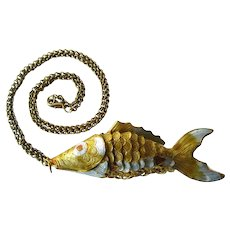 Large Articulated Fish Necklace in Yellow and Orange - Enamel Fish Charm - Good Luck Charm - Vintage Charm Necklace
