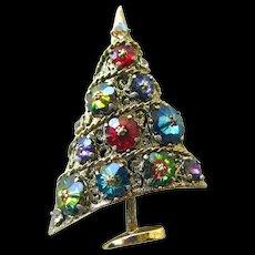 Weiss Sugarplum Christmas Tree Pin - Margarita Rivoli Glass Rhinestone Brooch - Vintage Jewellery - Holiday Pin - Christmas Brooch