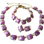 Signed Coro Thermoset Parure - Glitter Purple Thermoset Jewelry Set - Vintage Necklace Set - Costume Jewellery