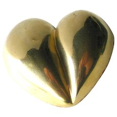 Steve Vaubel Puff Heart Brooch - Artist Signed Pin - Gold Heart Pin - Valentines Gift