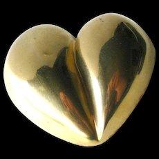 Steve Vaubel Puff Heart Brooch - Artist Signed Pin - Gold Heart Pin - Valentines Gift