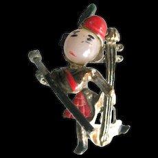 Trembler Pin Scottish Man Playing Cello  - Vintage Trembler Brooch - Costume Jewelry