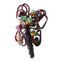 Hand Beaded Pin Flower Basket - Beadwork Brooch - Flower Basket