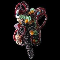 Hand Beaded Pin Flower Basket - Beadwork Brooch - Flower Basket