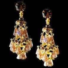 Dangle Chandelier Earrings - Topaz Crystal Earrings