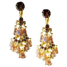 Dangle Chandelier Earrings - Topaz Crystal Earrings