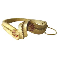 Red Rhinestone Twisted Rope Clamper Bracelet