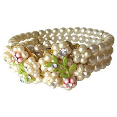 Flower and Faux Pearl Wrap Bracelet Vintage Costume Jewellery