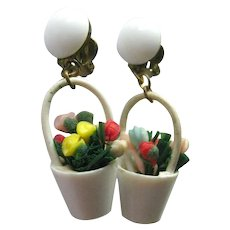Flower Basket Clip On Earrings Made In West Germany Costume Jewellery