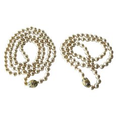 Nolan Miller NOS Faux Pearl Necklaces Set Of 2 With Original Documentation 24 Inch Necklace and 36 Inch Necklace