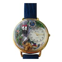 Whimsical Bird Watching Wrist Watch, Unusual Novelty Watch, Bird Lovers Gift