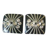 Vintage Rhinestone Earrings - Clip On Black Earrings - Pin Up Girl Jewelry