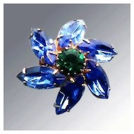 Blue and Green Rhinestone Flower Brooch