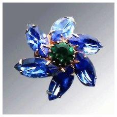 Blue and Green Rhinestone Flower Brooch