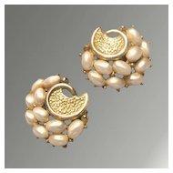 Crown Trifari Pearl & Gold-Toned Vintage Clip Earrings