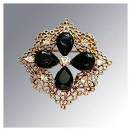 Vintage Jet Black and Rhinestone Brooch