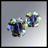 Green & Blue Glass Bead Earrings