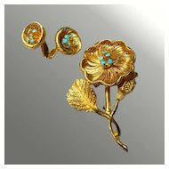 Flower Pin and Earring Set Turquoise Colored Rhinestone Demi-Parure -- Brooch & Earrings