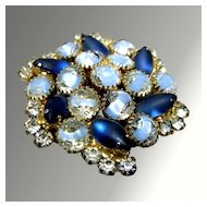 Dazzling Blue, White and Striped Rhinestone Brooch