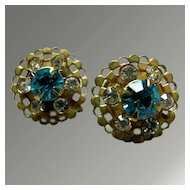 Earrings -- Signed Charm -- Beautiful Turquoise and White Rhinestone