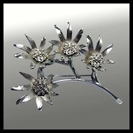 Judy Lee Brushed Silver Floral Spray Brooch