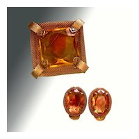 Amber Colored Mesh Demi Parure Pin & Earrings