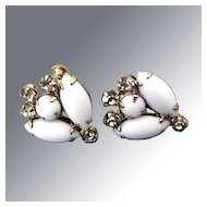 Elegant White Vintage Rhinestone Earrings