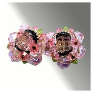 Sparkly Pink West German Earrings