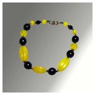 Yellow & Black Glass Bead Bracelet