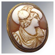 Carnelian Cameo Brooch Antique Carved Gentleman