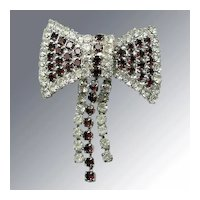 Vintage Brooch -- Red & White Rhinestone Bow